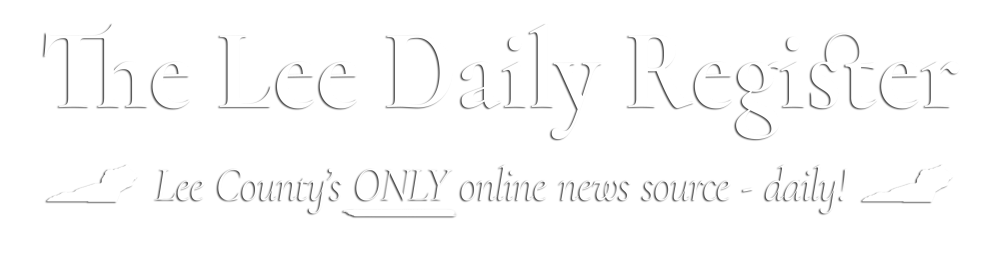 "Header logo for The Lee Daily Register. The type is white and reads ""The Lee Daily Register"". There is also a tagline that reads ""Lee County's ONLY Online News Source - daily!"""