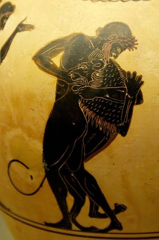 Ancient Greek oinochoe (vase) painted in the black figure white-ground technique. This is a detail image showing Herakles and the Nemean lion engaged in battle.