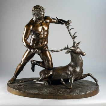 UNKNOWN, copy of Λύσιππος (Lysippos), Herakles Capturing the Cyrenian Hind, French bronze copy of an Hellenic bronze original, ca. 390 B.C. Private collection. Image courtesy of owner, 2017.