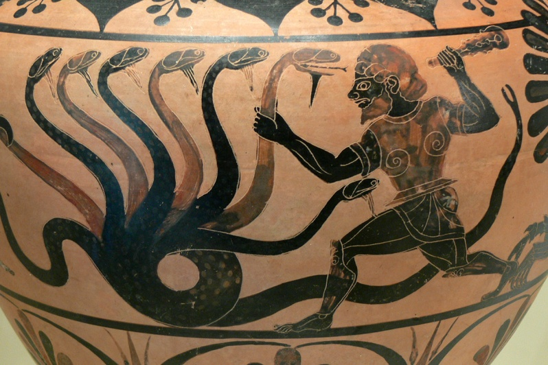 EAGLE PAINTER, Herakles battling the Lernean Hydra, detail of black figure hydria from Caere produced by the Eagle Painter ca.525 B.C. Black figure terra cotta. J. Paul Getty Museum, Los Angeles. Digital image courtesy Xenophon via creative commons license, 2017.