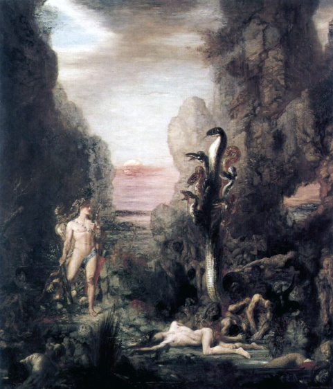 """GUSTAVE MOREAU, Hercule et l'Hydre de Lerne (Hercules and the Hydra of Lerna), 1876. Oil on canvas, 60 5/8"""" x 70 5/8"""". Art Institute of Chicago. Digital Image courtesy The Yorck Project: 10.000 Meisterwerke der Malerei, 2002."""