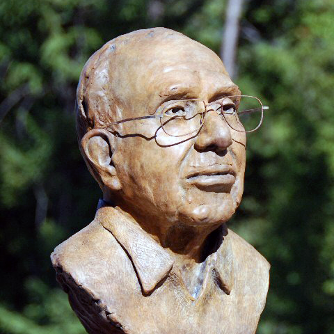 A bronze bust of Dr. Joseph Smiddy on the campus of U.Va.-Wise in Wise, Va.